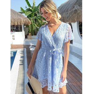 Blue Lace Surplice Wrap Dress